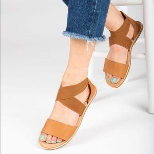 NIB SOREL Ella Camel Brown Leather Elastic Sandals